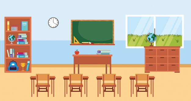 Klassenzimmer mit tafelkarikatur
