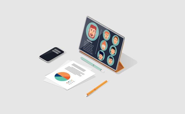 Klassenzimmer online mit tablet in isometrischer ansicht