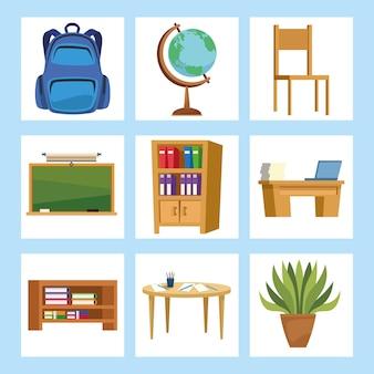 Klassenzimmer-set-symbole