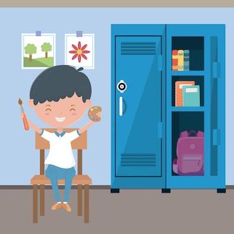 Klassenzimmer und junge in der schule
