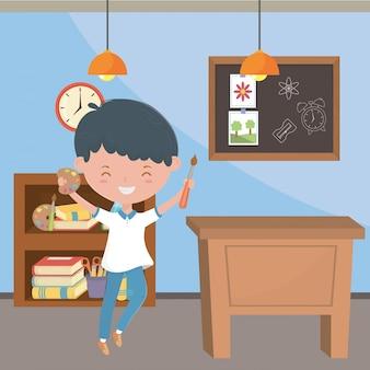 Klassenzimmer und schuljunge