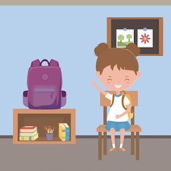 Klassenzimmer und schulmädchen