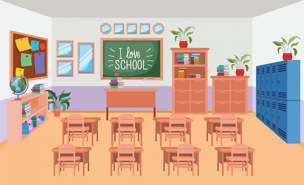Klassenzimmerschule mit tafelszene