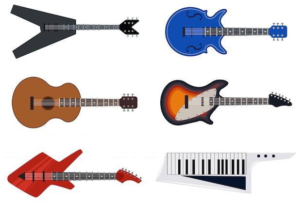 Klassische akustische und retro e-gitarren. flache ikonen des vektors stellten von den musikinstrumenten ein, die auf weißem hintergrund lokalisiert wurden.