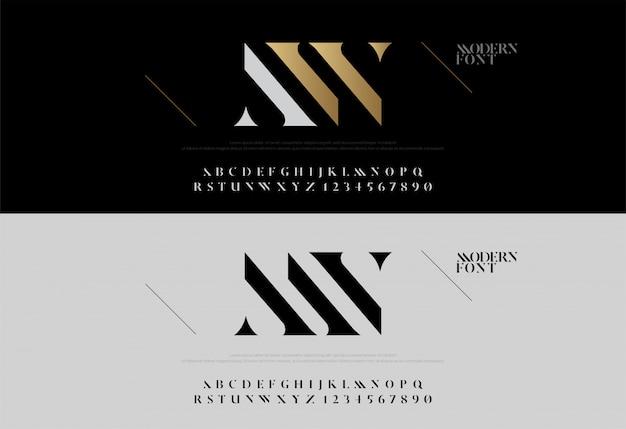 Klassische alphabetbeschriftung des eleganten alphabets