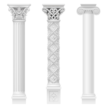 Klassische antike weiße säulen
