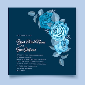 Klassische blaue blumenhochzeitseinladungsschablone