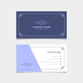 Klassische blaue visitenkarte des briefpapiers