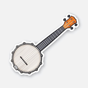 Klassische country-musik-banjo saite gezupftes musikinstrument vektor-illustration