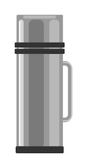 Klassische edelstahlthermosflasche lokalisiert auf weißem hintergrund