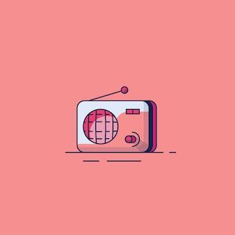 Klassische flache designillustrationen des radios