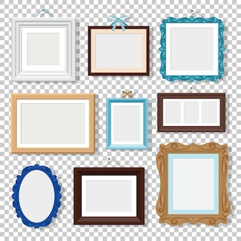 Klassische fotorahmen auf transparent