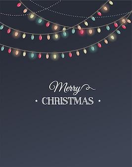 Klassische frohe weihnachten vorlage mit bunten baumlichtern.