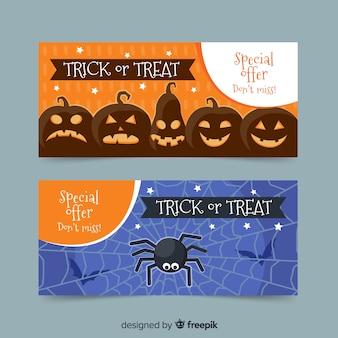 Klassische halloween-banner mit flachem design