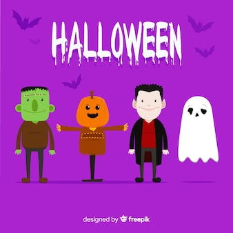 Klassische halloween-charaktersammlung mit flachem design