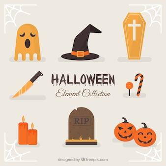 Klassische halloween-elemente mit flachem design
