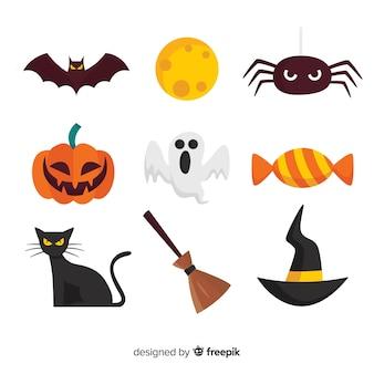 Klassische halloween elementsammlung mit flachem design