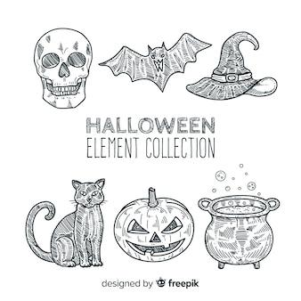 Klassische hand gezeichnete halloween-elementsammlung