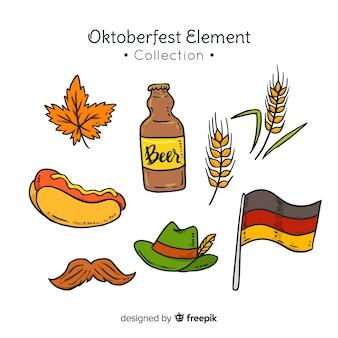 Klassische hand gezeichnete oktoberfest elementsammlung