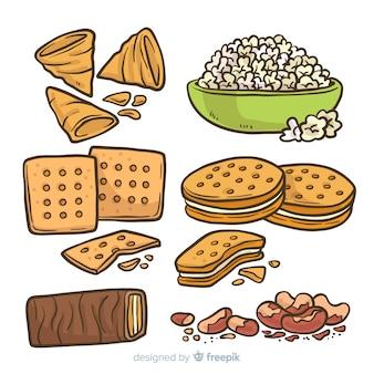 Klassische hand gezeichnete snack-sammlung