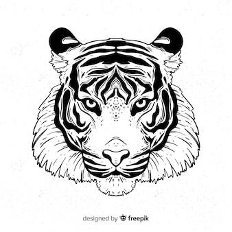 Klassische handgezeichnete tiger compositio