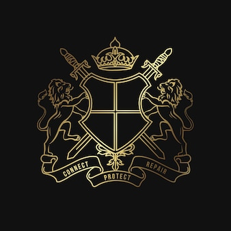 Klassische heraldik design vorlage luxus wappen logo