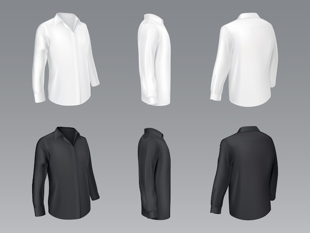 Klassische herrenhemden der schwarzen und weißen männer, bluse der frauen