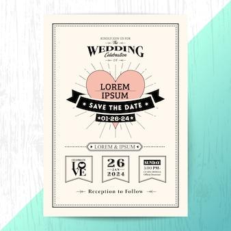 Klassische hochzeitseinladungskarte, speichern sie die datumskarte