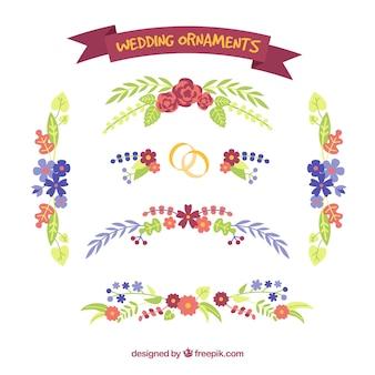 Klassische Hochzeitsverzierung mit flachem Design