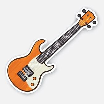Klassische holz-rock-elektro- oder bassgitarre saite gezupftes musikinstrument vektor-illustration