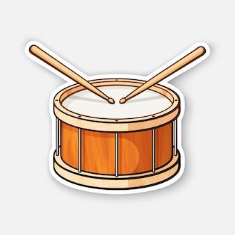 Klassische holztrommel mit drumsticks percussion-musikinstrument vektor-illustration