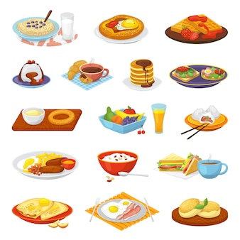 Klassische hotel frühstücksmenü mahlzeit mahlzeit satz von abbildungen. kaffee, spiegelei speck, toast und orangensaft, croissant, marmelade und müsli. restaurant traditionelles frühstück.