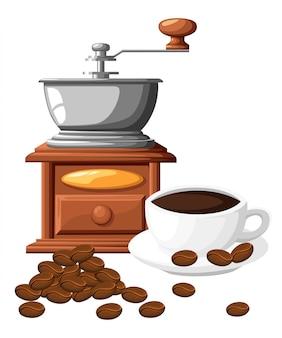 Klassische kaffeemühle. manuelle kaffeemühle mit kaffeetasse. illustration auf weißem hintergrund