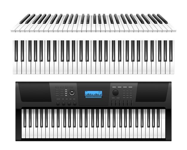 Klassische klaviertasten und realistische tastatur des elektrischen synthesizers