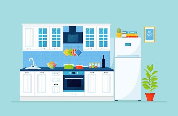 Klassische küche mit möbel kühlschrank schrank wasserhahn mit spüle herd
