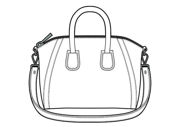 Klassische ledertaschen-vektorillustration für frauen