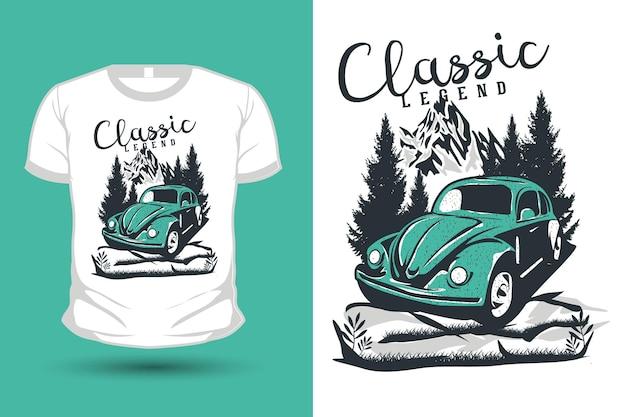 Klassische legende vintage hand gezeichnete illustration mockup t-shirt design