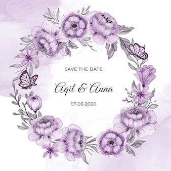 Klassische lila blumenkranzrahmen-einladungskarte des kreises