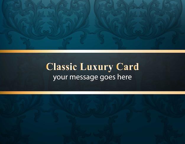 Klassische luxuskarte mit luxuriösem verzierung vektor. abstrakte design-illustration. platz für texte