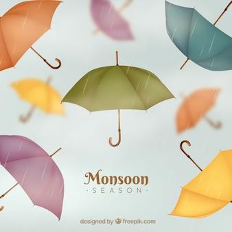 Klassische monsunjahreszeitenzusammensetzung mit realistischem design