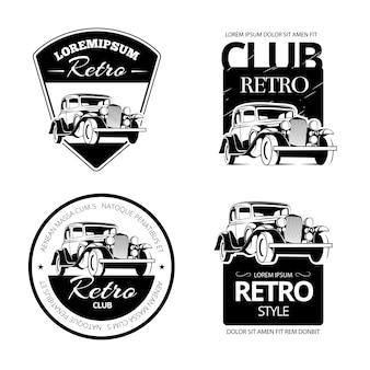 Klassische muscle-car-vektoretiketten, embleme und abzeichen. retro-fahrzeug, alte autotransportlogoillustration