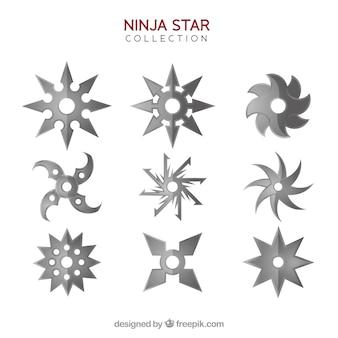 Klassische ninja sternsammlung mit flachem design