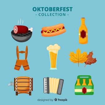 Klassische oktoberfest elementsammlung mit flachem design