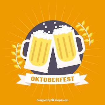 Klassische oktoberfest zusammensetzung mit flachem design