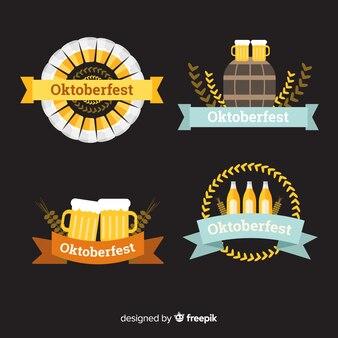 Klassische oktoberfestabzeichensammlung mit flachem design