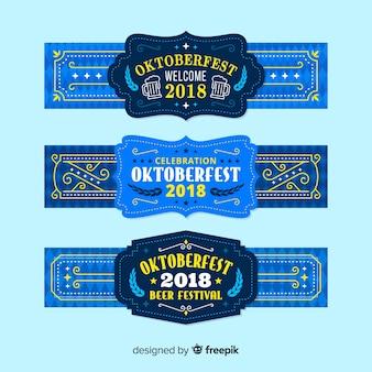 Klassische Oktoberfestfahnen mit flachem Design