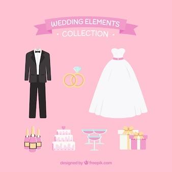 Klassische Packung von flachen Hochzeit Elemente