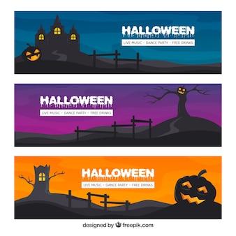 Klassische packung von halloween-bannern