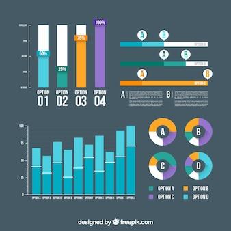 Klassische packung von infografischen elementen