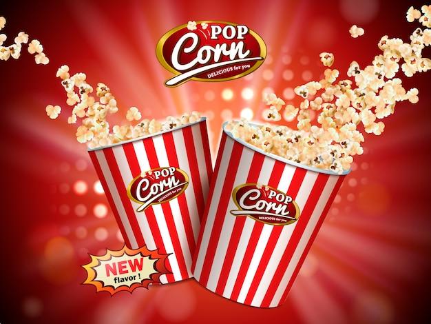Klassische popcorn-anzeigen, köstliches popcorn, das aus pappkarton fliegt, der weiß und rot gestreift auf rotem beleuchtetem hintergrund in der illustration ist